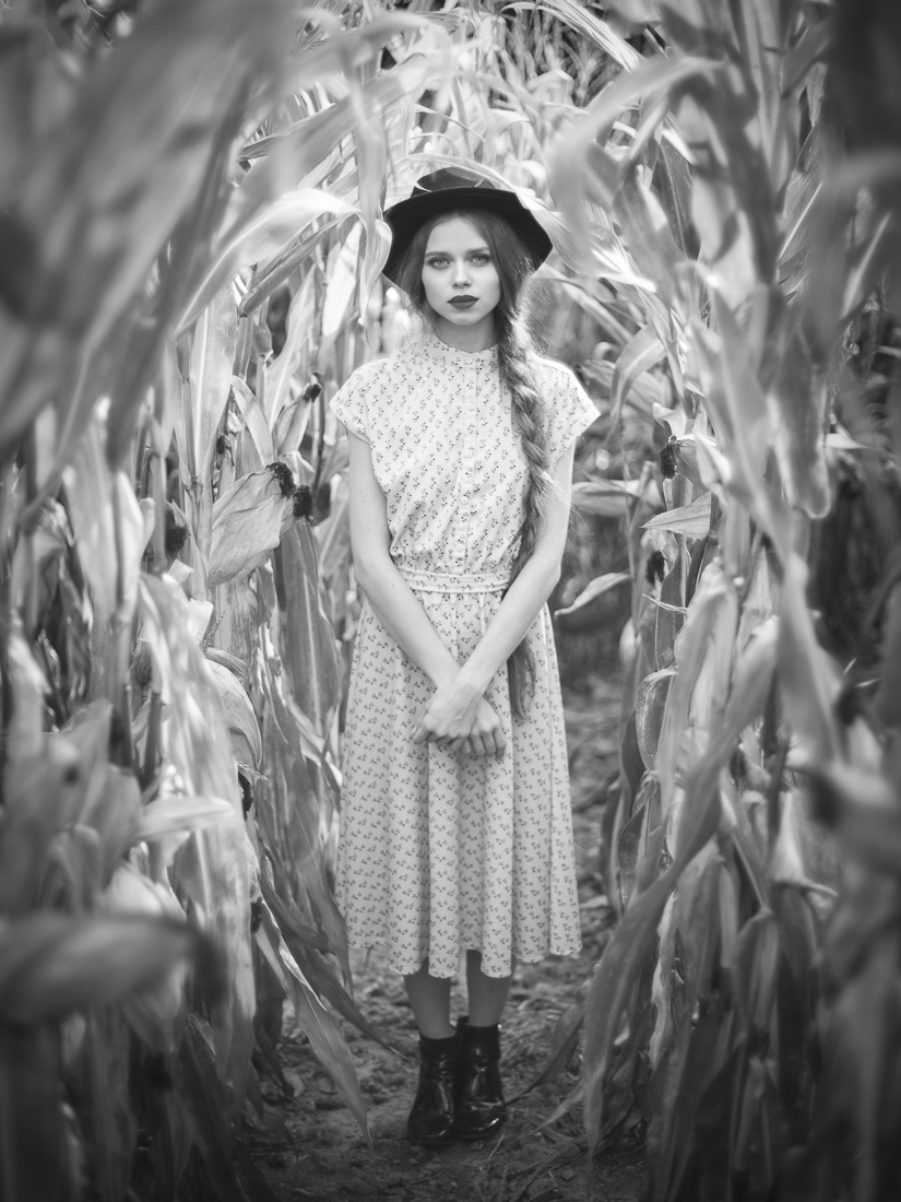 Girl in a corn field