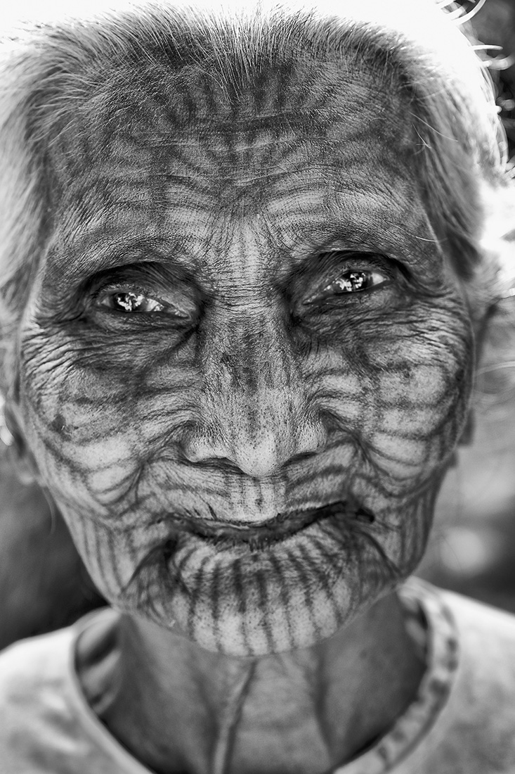 The tattoed face woman of Chin tribe