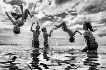 Children Happy Jump BW 4