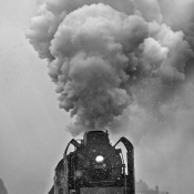 Disappearing steam locomotive