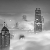 Misty cityscape of Hong Kong